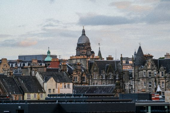 Edinburgh buildings and spires on a grey day