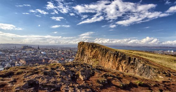 Image of Arthur's Seat with Edinburgh in the background