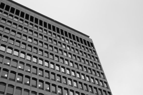 Greyscale image of an office building in Bristol