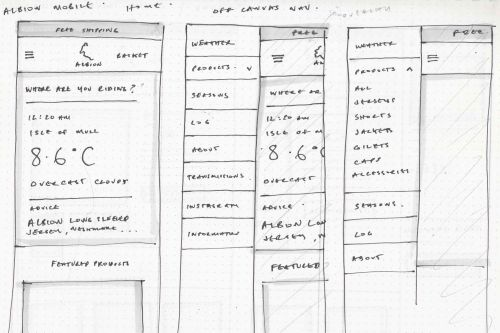 Designing Albion Cycyling, sketch of homepage mobile view