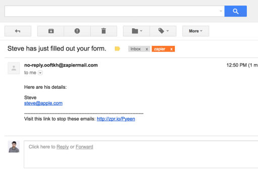 Zapier is now sending us an automated email