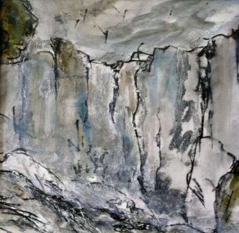 Deep Gorge: Iguazu falls, Monprint and mixed media on paper, 2012