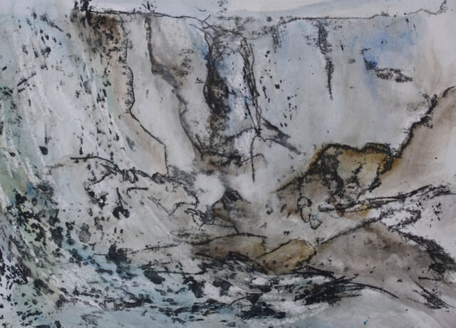 River Bed, Monoprint and mixed media on paper, 2012
