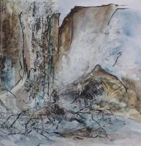 Las Cataratas: Thundering Waters, Monoprint and mixed media on paper, 2012