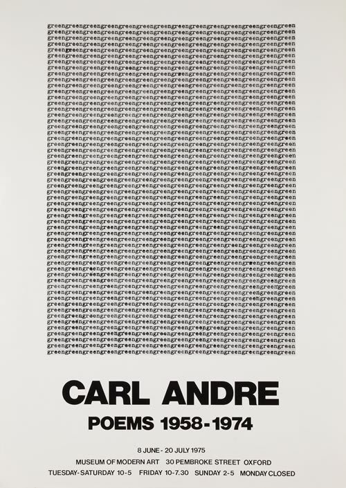 Carl Andre Poems 1958-1974 Poster