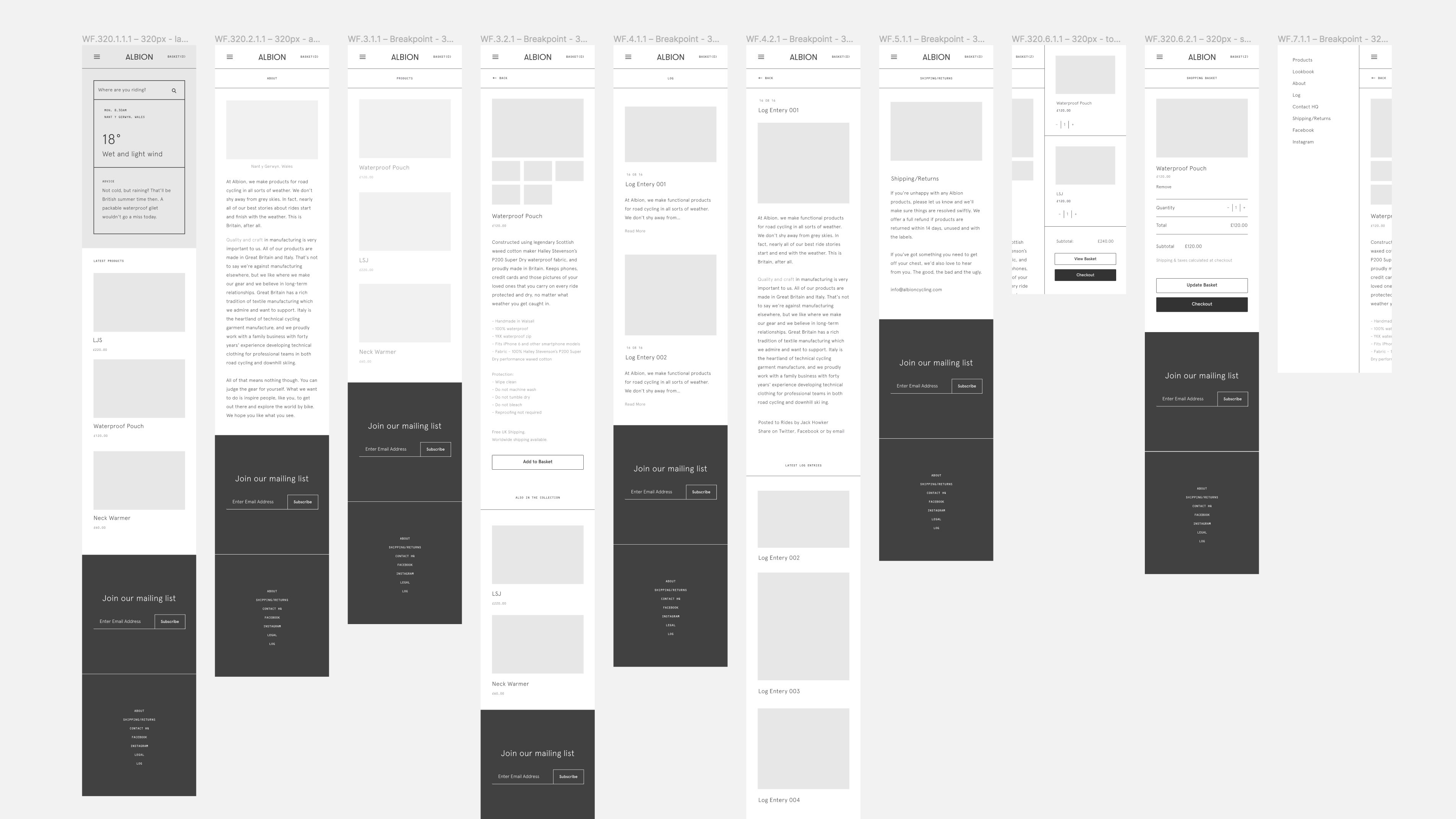 Mid-fidelity mobile wireframes