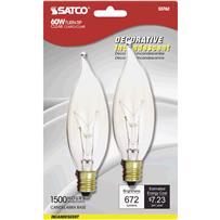 Satco 60W Candelabra CA10 Incandescent Decorative Light Bulb