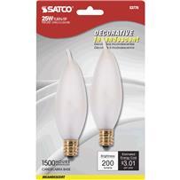 Satco CA8 Incandescent Turn Tip Decorative Light Bulb