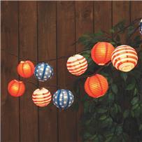 Everlasting Glow Patriotic Lantern String Lights