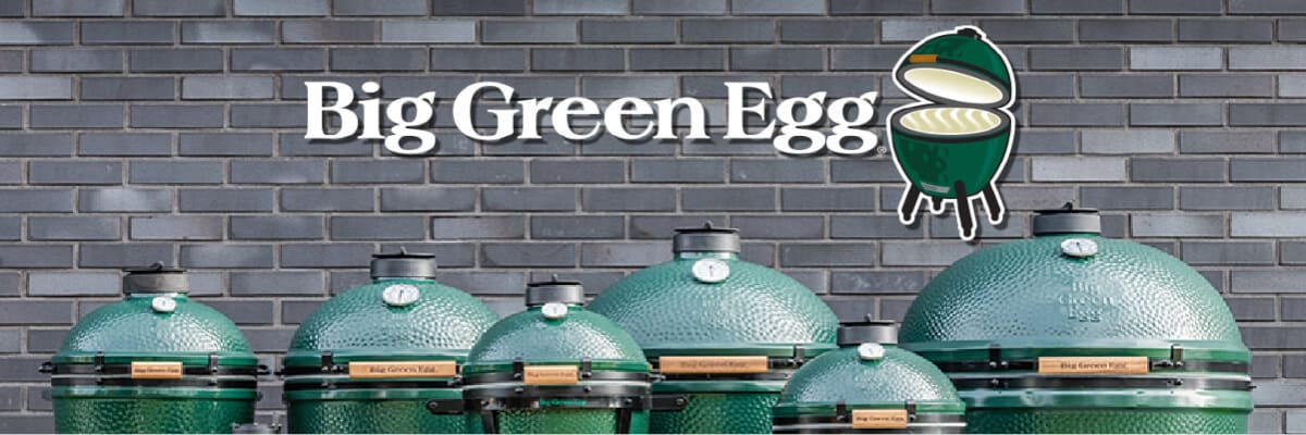 An assortment of Big Green Egg grills, including the Mini, MiniMax, Small, Medium, Large, and XL