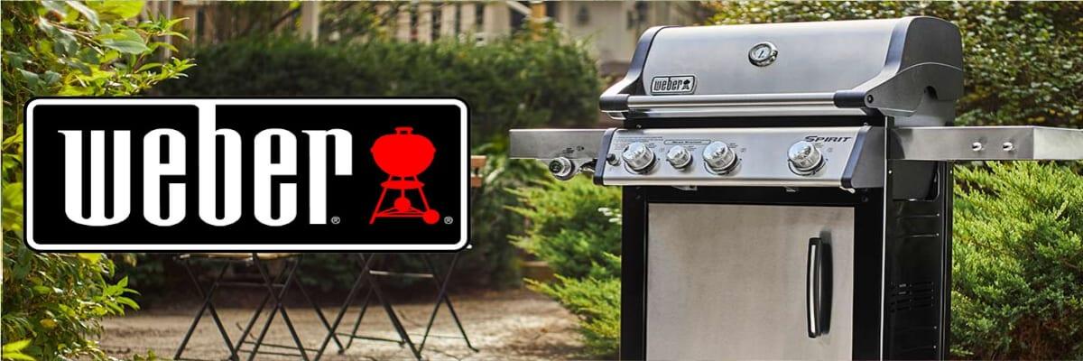 A Weber Spirit Propane Gas Grill sits on a backyard patio