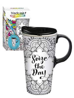 EVERGREEN 3CTC5835S CERAMIC JUST ADD COLOR SEIZE THE DAY TRAVEL CUP