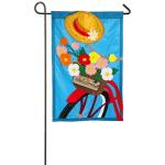 EVERGREEN 168605BL BICYCLE BASKET APPLIQUE GARDEN FLAG