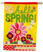 EVERGREEN 13S4095 HELLO SPRING SUEDE HOUSE FLAG