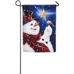 EVERGREEN 14S4600BL BE MERRY SNOWMAN SUEDE GARDEN FLAG