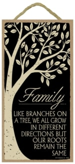 SJT ENTERPRISES 94546 FAMILY LIKE BRANCHES ON A TREE WOOD PLAQUE