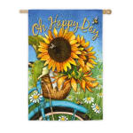 EVERGREEN 13S4129BL HAPPY DAY SUNFLOWERS SUEDE HOUSE FLAG