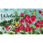 EVERGREEN 41EM2273BL GERANIUMS AND YELLOW BUTTERFLIES EMBOSSED FOOR MAT