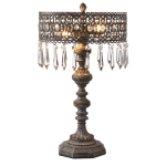 MIDWEST CBK  344835 GRAYWASH FILIGREE BEADED 2-LIGHT TABLE LAMP