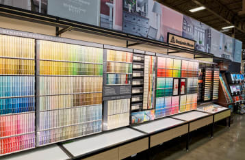 The selection of Benjamin Moore paint swatches available at Hartville Hardware