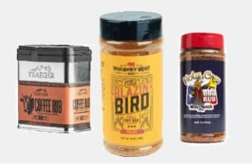 A sampling of the spice blends we offer including the Traeger Coffee Rub, Whiskey Bent BBQ Blazin Bird dry rub, and Meat Church Holy Cow BBQ rub