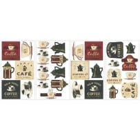 YORK WALLCOVERINGS RMK1254SCS COFFEE HOUSE APPLIQUES WALL DECALS