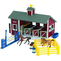 BREYER  59197 STABLEMATES RED STABLE SET WITH TWO HORSES