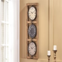 GIFTCRAFT 086010 MDF & IRON 3-FACE WALL CLOCK
