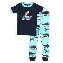 LAZY ONE KSS326 WIDE AWAKE SHARK KIDS PJ SET 8