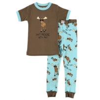 LAZY ONE KSS720 DON'T MOOSE WITH ME BOY KIDS PJ SET 4T
