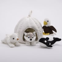 UNIPAK DESIGNS 7166SN PLUSH SNO HOUSE WITH ANIMALS