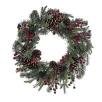 KURT ADLER H4091 RED BERRY PINECONE WREATH 24 INCH LED BATTERY OPERATED