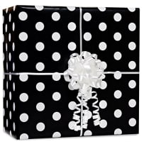AMSCAN 189917.10 BLACK WITH WHITE POLKA DOTS GIFT WRAP ROLL