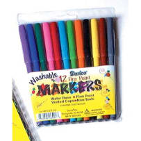 DARICE 1023-02 WASHABLE MARKERS FINE POINT 12PACK