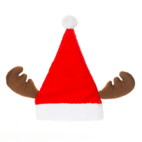DARICE 30028364 SANTA HAT WITH REINDEER ANTLERS POLYESTER 12 X 17 INCH