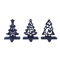 TRANSPAC Y2579 METAL CHRISTMAS TREE STOCKING HOLDER 3 ASSORTED