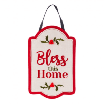EVERGREEN 2DHB1219B BLESS THIS HOME HOLLY & BERRY BURLAP DOOR DECOR