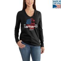 CARHARTT 102768-001 LADIES XSM GRAPHIC FLAG LONG SLEEVE TEE