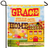 EVERGREEN 14S4157 GRACE FILLS OUR HOME SUEDE REFLECTIONS GARDEN FLAG