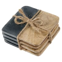 MUD PIE 4255026 SLATE AND WOOD COASTER SET