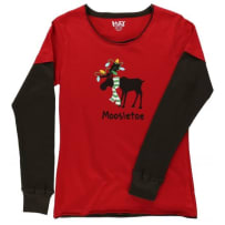 LAZY ONE ZWTS220 MOOSELTOE CHRISTMAS FITTED PJ THERMAL SLEEVE XLARGE