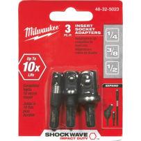 MILWAUKEE 48-32-5023 SHOCKWAVE IMPACT INSERT SOCKET ADAPTER SET 3 PIECE