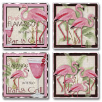 HIGHLAND  05-00144 FLAMINGO BAR AND GRILL TILE COASTERS 4PACK