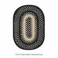 HOMESPICE 598721 BRAIDED OVAL PLACEMAT 13X19 INCH MANCHESTER BLACK