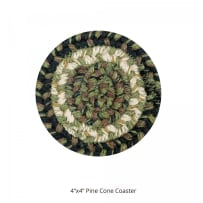 HOMESPICE 590749 BRAIDED COASTER 4 INCH PINECONE GREEN