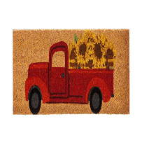 EVERGREEN 2RMS461 RED TRUCK WITH SUNFLOWERS COIR SWITCH MAT