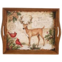 RAZ IMPORTS 3721349 DEER AND CARDINAL WOOD TRAY 18 INCH