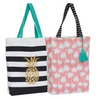 DESIGN IMPORTS 90993 SUMMER CANVAS TOTE BAGS ASSORTED