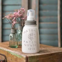 COLONIAL TIN WORKS 360290DTF MASON JAR FOAMING SOAP DISPENSER MIDGET PINT PAINTED WHITE