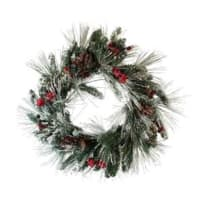 KURT ADLER H4103 WINTER FROST BERRY PRELIT LED WREATH 24 INCH BATTERY OPERATED